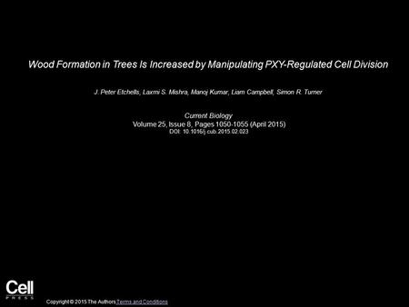 Wood Formation in Trees Is Increased by Manipulating PXY-Regulated Cell Division J. Peter Etchells, Laxmi S. Mishra, Manoj Kumar, Liam Campbell, Simon.