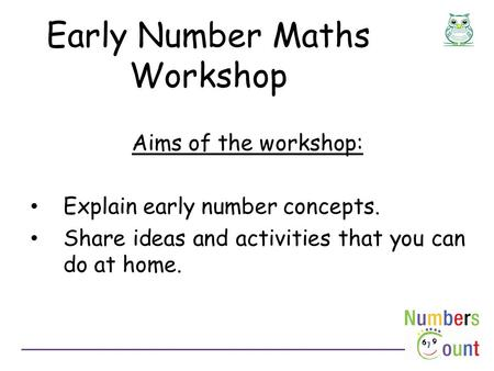 Early Number Maths Workshop