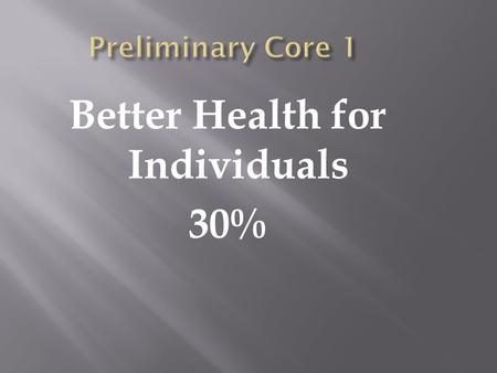 Better Health for Individuals 30%. Students learn about: Meanings of health Perceptions of health Relative and dynamic nature of health.