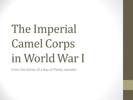 The Imperial Camel Corps in World War I From the diaries of a Bay of Plenty camelier.