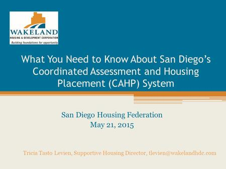 San Diego Housing Federation May 21, 2015