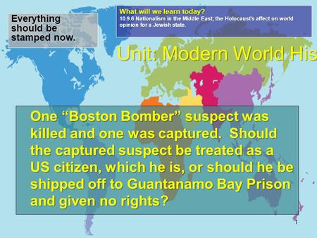 "One ""Boston Bomber"" suspect was killed and one was captured. Should the captured suspect be treated as a US citizen, which he is, or should he be shipped."
