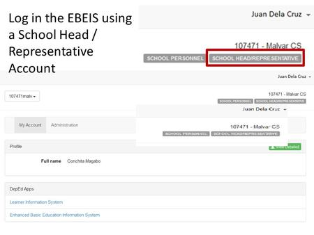 Log in the EBEIS using a School Head / Representative Account
