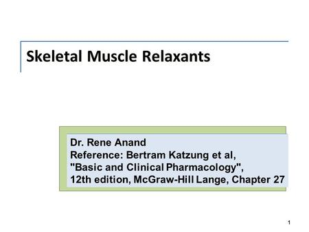 Skeletal Muscle Relaxants 1 Dr. Rene Anand Reference: Bertram Katzung et al, Basic and Clinical Pharmacology, 12th edition, McGraw-Hill Lange, Chapter.