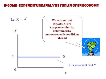 We assume that exports(X) are exogenous--that is, determined by macroeconomic conditions abroad Let X = X Y 0 X X is invariant wrt Y Income–expenditure.