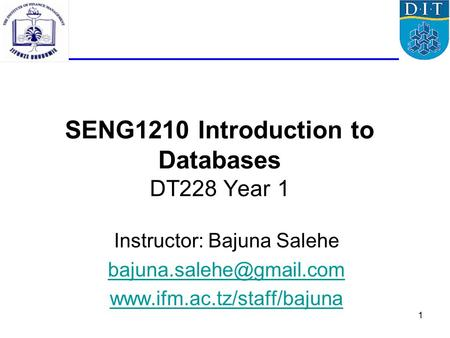1 SENG1210 Introduction to Databases DT228 Year 1 Instructor: Bajuna Salehe