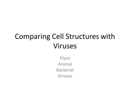 Comparing Cell Structures with Viruses Plant Animal Bacterial Viruses.