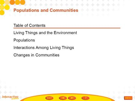 Table of Contents Living Things and the Environment Populations Interactions Among Living Things Changes in Communities Populations and Communities.