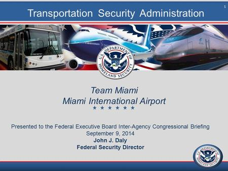 Transportation Security Administration Team Miami Miami International Airport Presented to the Federal Executive Board Inter-Agency Congressional Briefing.