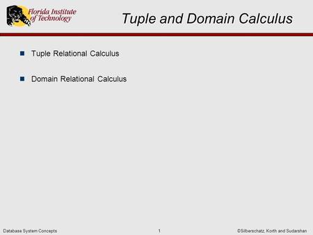 ©Silberschatz, Korth and Sudarshan1Database System Concepts Tuple and Domain Calculus Tuple Relational Calculus Domain Relational Calculus.