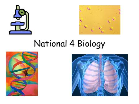 National 4 Biology. 3 Main Units Unit 1 Cell Biology – cell division, DNA, enzymes, microorganisms, photosynthesis, respiration, controversial biological.