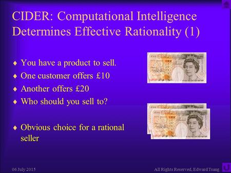 06 July 2015All Rights Reserved, Edward Tsang CIDER: Computational Intelligence Determines Effective Rationality (1)  You have a product to sell.  One.