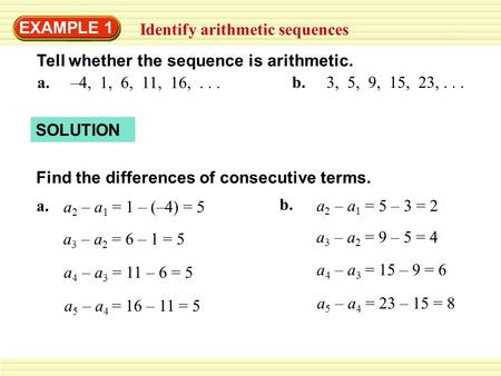 EXAMPLE 1 Identify Arithmetic Sequences