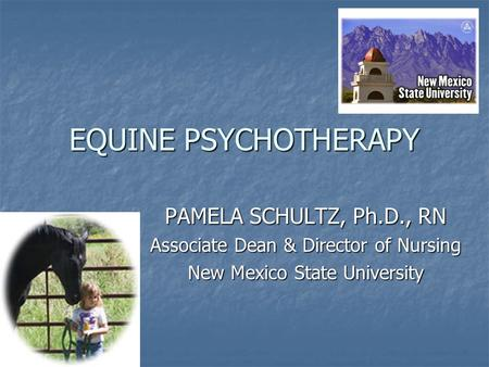 EQUINE PSYCHOTHERAPY PAMELA SCHULTZ, Ph.D., RN Associate Dean & Director of Nursing New Mexico State University.