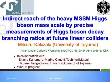 Indirect reach of the heavy MSSM Higgs boson mass scale by precise measurements of Higgs boson decay branching ratios at future linear colliders Mitsuru.