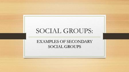 EXAMPLES OF SECONDARY SOCIAL GROUPS