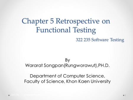 Chapter 5 Retrospective on Functional Testing Software Testing