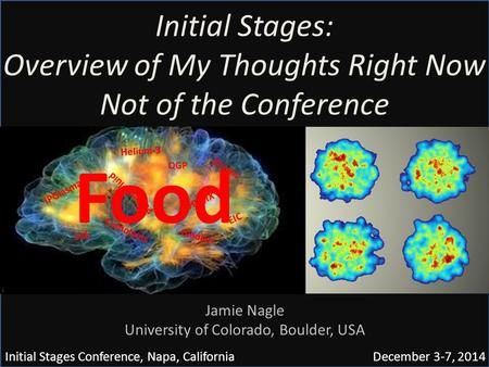 Initial Stages: Overview of My Thoughts Right Now Not of the Conference Initial Stages Conference, Napa, California December 3-7, 2014 Jamie Nagle University.