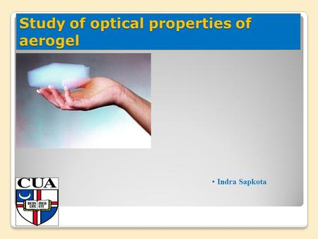 Study of optical properties of aerogel