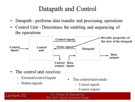1 KU College of Engineering Elec 204: Digital Systems Design Lecture 20 Datapath and Control Datapath - performs data transfer and processing operations.