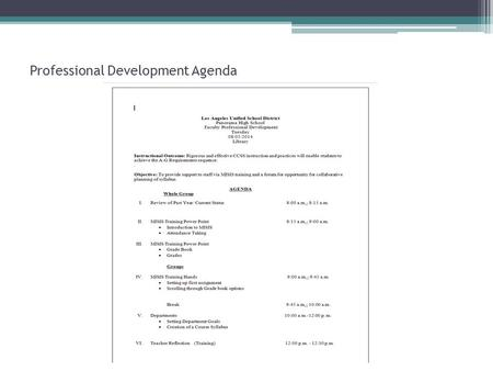 Professional Development Agenda. MISIS TRAINING Part 2 GRADE BOOK 2014-15 08/05/2014 Flaminio Zarate.