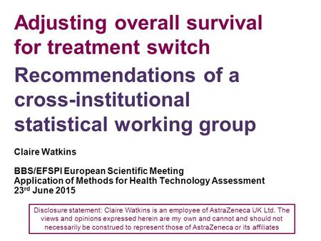 Adjusting overall survival for treatment switch