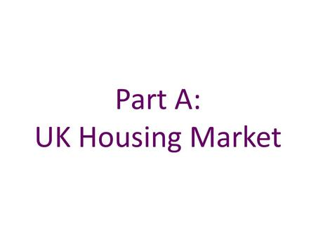 Part A: UK Housing Market