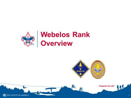 1 Webelos Rank Overview. Webelos Rank Overview - Objectives By the end of the session, participants will… Understand and communicate to others the updated.
