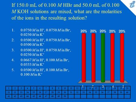If 150.0 mL of 0.100 M HBr and 50.0 mL of 0.100 M KOH solutions are mixed, what are the molarities of the ions in the resulting solution? 0.0750 M in H+,