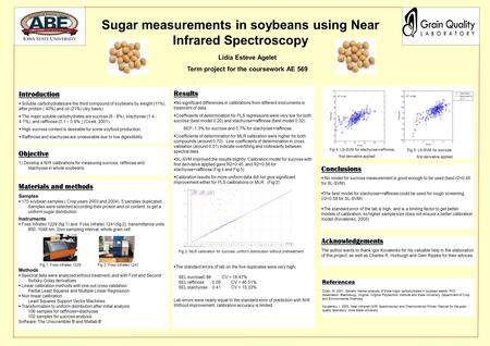 ,. Sugar measurements in soybeans using Near Infrared Spectroscopy Introduction  Soluble carbohydrates are the third compound of soybeans by weight (11%),