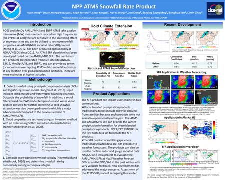 NPP ATMS Snowfall Rate Product POES and MetOp AMSU/MHS and SNPP ATMS take passive microwave (MW) measurements at certain high frequencies (88.2~190.31.