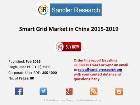 Smart Grid Market in China 2015-2019 Order this report by calling +1 888 391 5441 or Send an  to with your contact details.