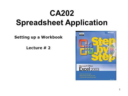 1 CA202 Spreadsheet Application Setting up a Workbook Lecture # 2.