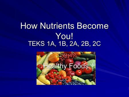 How Nutrients Become You!