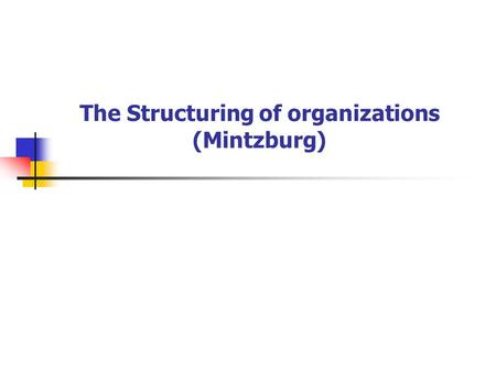 The Structuring of organizations (Mintzburg). 組織之五大組成要素 Strategic Apex Operation Core Middle Line Technostructure Support Staff Reference: Mintzberg,
