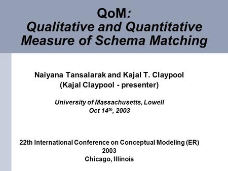 QoM: Qualitative and Quantitative Measure of Schema Matching Naiyana Tansalarak and Kajal T. Claypool (Kajal Claypool - presenter) University of Massachusetts,