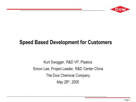 Ensure that there is free space of at least 3/16-inch (4.8 mm) around the DOW Diamond. Page 1 Speed Based Development for Customers Kurt Swogger, R&D VP,