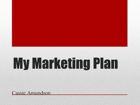 My Marketing Plan Cassie Amundson. Introduction My name is Cassie Amundson and I have a desire to manage and get ahead with my current employer. I will.