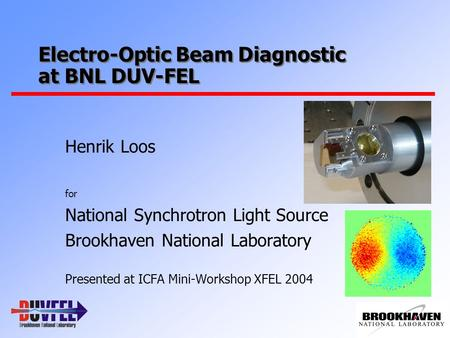 Electro-Optic Beam Diagnostic at BNL DUV-FEL