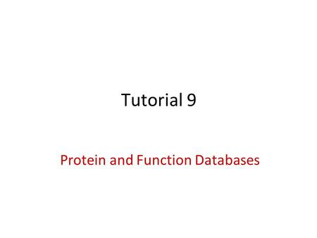 Protein and Function Databases