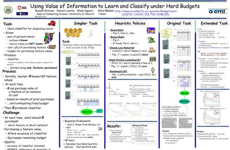 Using Value of Information to Learn and Classify under Hard Budgets Russell Greiner, Daniel Lizotte, Aloak Kapoor, Omid Madani Dept of Computing Science,