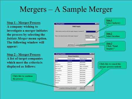 Step 1 - Merger Process A company wishing to investigate a merger initiates the process by selecting the Initiate Merger menu option. The following window.
