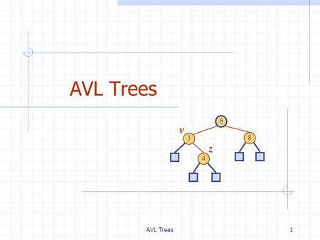 AVL Trees1 6 3 8 4 v z. 2 AVL Tree Definition AVL trees are balanced. An AVL Tree is a binary search tree such that for every internal node v of T, the.