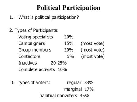 Political Participation 1.What is political participation? 2. Types of Participants: Voting specialists20% Campaigners15% (most vote) Group members 20%