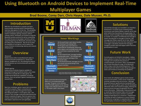 Using Bluetooth on Android Devices to Implement Real-Time Multiplayer Games Brad Boone, Corey Darr, Chris Hayes, Dale Musser, Ph.D. Introduction With the.