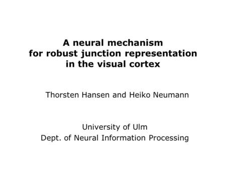 A neural mechanism for robust junction representation in the visual cortex University of Ulm Dept. of Neural Information Processing Thorsten Hansen and.