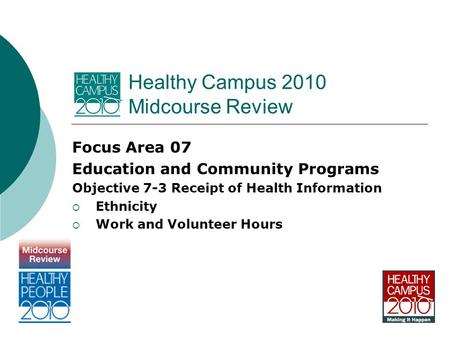 Healthy Campus 2010 Midcourse Review Focus Area 07 Education and Community Programs Objective 7-3 Receipt of Health Information  Ethnicity  Work and.