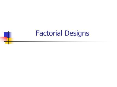 Factorial Designs. Background Factorial designs are when different treatments are evaluated within the same randomised trial. A factorial design has a.