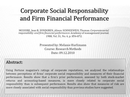 Corporate Social Responsability and Firm Financial Performance