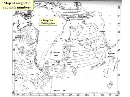 Map of magnetic anomaly numbers Deep Sea Drilling sites.